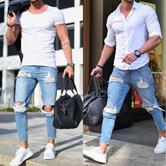 90908d01 Brand Biker Jeans Men 2018 Fashion Skinny Stretch Ripped Jeans Mens Slim Fit  Pencil Pants Hip Hop Streetwear Hole Denim Jeans