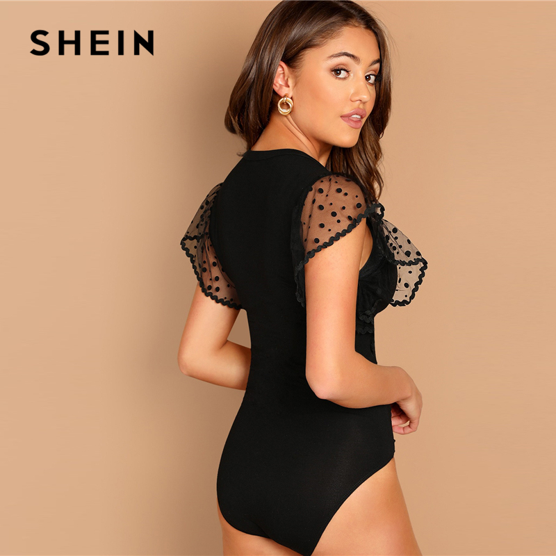 SHEIN Going Out Modern Lady Black Dot Mesh Flutter Sleeve Flounce Sleeve Ruffle Bodysuit Women Autumn Plain Elegant Bodysuits 2