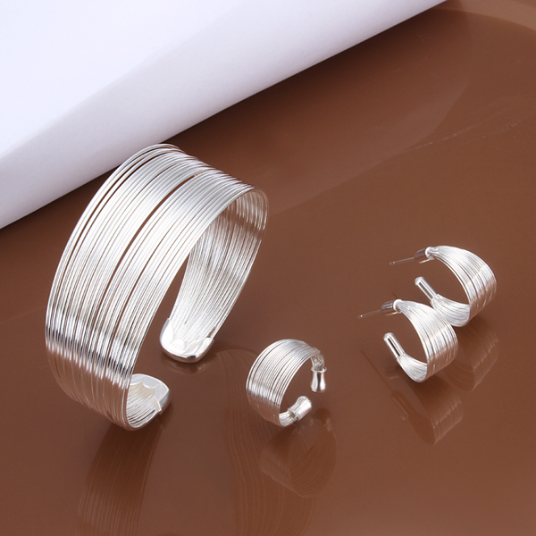 Factory Price Wholesale N925 Jewelry Silver color Plated Lovely Jewelry Sets Bracelet Earrings Ring Free Shipping