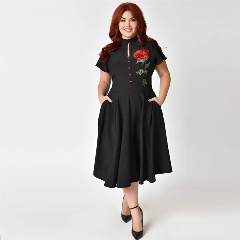 ... OTEN Woman 2018 summer midi retro 50s 60s plus size clothing flower  embroidery black vintage Casual ... 4cd32993ac27