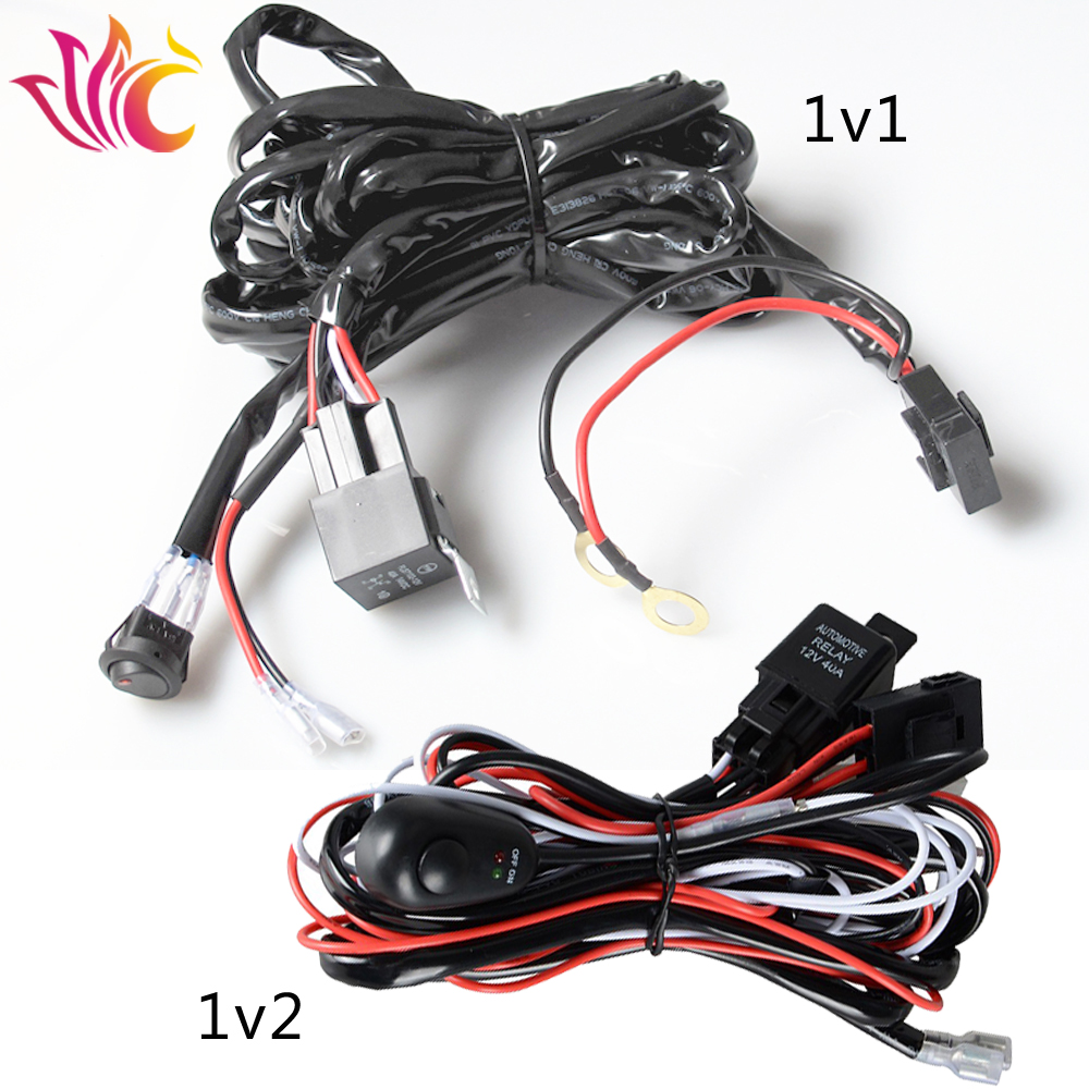 small resolution of universal car wiring harness kit loom 12v 40a relay on off switch 3 meter led