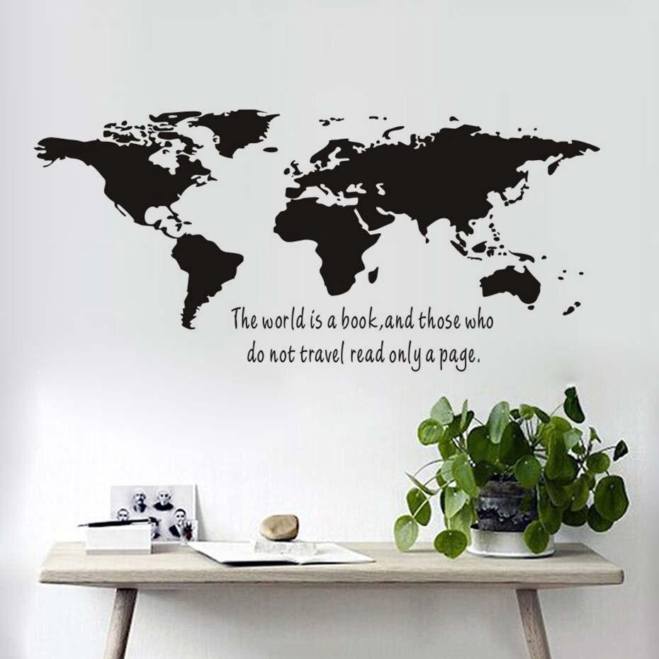 Grande Formato Adesivi In Vinile Il Mondo È Un Libro Del Mondo Map ...
