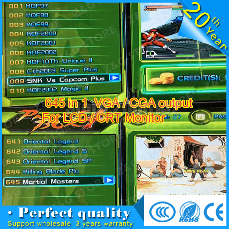 Pandora box 4 VGA/CGA output for LCD / CRT 645 in 1 game board arcade bundle video arcade jamma boards accesorios kit arcade HD free shipping pandora box 4s 815 in 1 jamma mutli game board arcade mutligame pcb vga hdmi signal output for arcade game cabinet