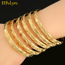 Ethlyn 6Piece/Lot Trendy Ethiopian Wedding Gold Color Openable Charm Bracelets For Women Bangle Jewelry  Bangles B047