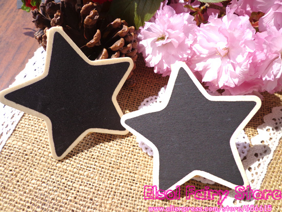 30pcs Star Shape Wooden Party Blackboard Clip Chalkboard Clips Gift Message Wood Cards Pegs Clips for Party Decor