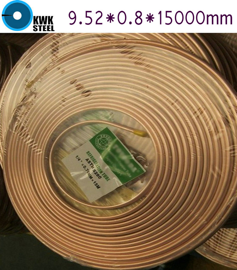 Copper Coiled Pipe Size 9.52*0.8mm 15Meter Length Soft Condition Air Condition Ferigerator Tube Refrigerant Liquid Pipe R410A  цены