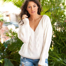 лучшая цена Women Sweater 2019 Autumn Long Sleeve Knitting Pullovers Solid Casual Sexy V Neck Pull Femme Solid Knitted Jumpers Sweter Mujer