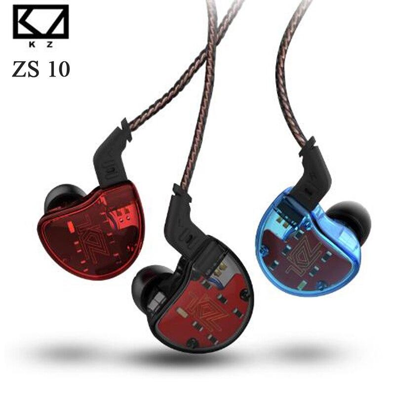 KZ ZS10,4BA With 1Dynamic Hybrid In Ear Earphone HIFI DJ Monitor Running Sport Earphone 5 Drive Unit Headset Earbud Noise Cancel