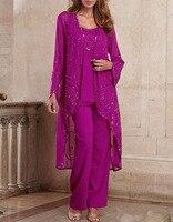 women 3 pieces elegant sequins chiffon mother of the bride dress pants suit floor length for wedding groom