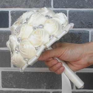 Image 5 - WifeLai A 1Piece Cream Ivory Artificial Flowers Bridal Brooch Bouquets Stunning Crystal Stitch Bridesmaid Wedding Bouquets W236