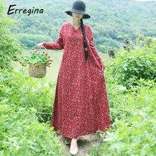Erregina Vintage Linen Plus Size Dress Women Maxi Floral Dress Long Sleeves Pockets V-neck Cotton Loose Robe Dresses Vestidos цена