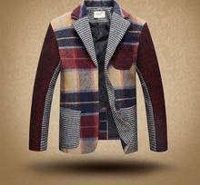 2016 new british style kids boys woolen coat two breasts turndown-collar autunm winter plaid patchwork children outwear coat