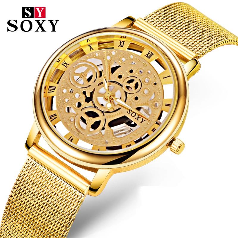 купить Skeleton Wrist Watch Men Watch Mens Watches Top Brand Luxury Hollow Out Men's Watch Clock relojes para hombre relogio masculino по цене 286.95 рублей