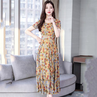 Summer Dress Women Yellow Red Black XL 2XL 3XL 4XL Plus Size Chiffon Print Dresses 2019 New Korean Blue Office Maxi Dress LD1067