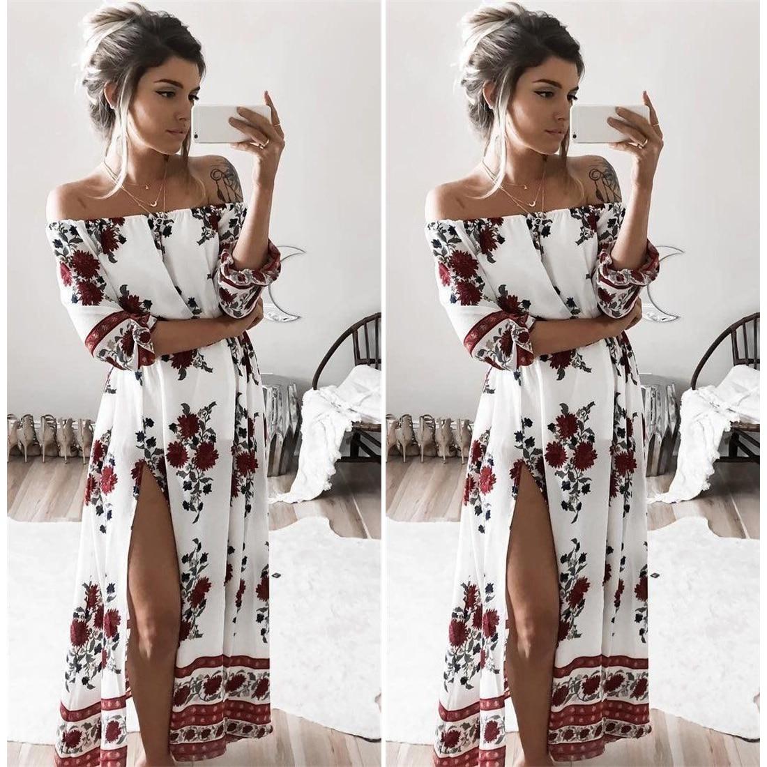 ec9a858b4784 Women Vintage Floral Printed 2017 Spring Summer Boho Beach Dresses ...