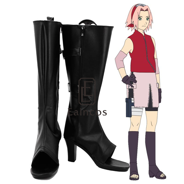 Anime Naruto Haruno Sakura Cosplay Party Shoes Black Peep Toe Boots Custom Made