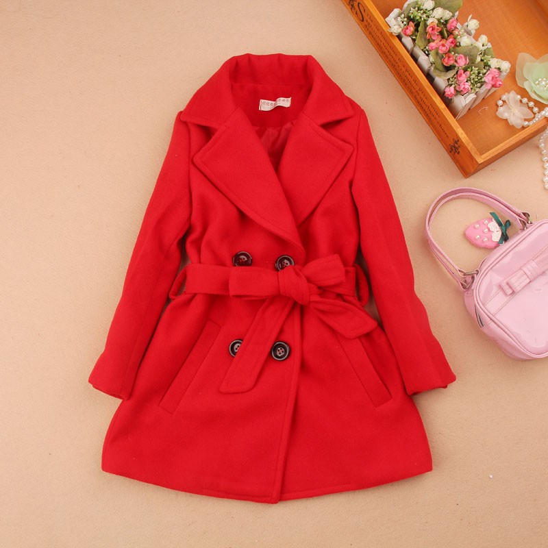 girls winter coats 2019 kids clothes children clothing girls wool coat woolen blends cashmere girls clothes with belt age 2-16Y