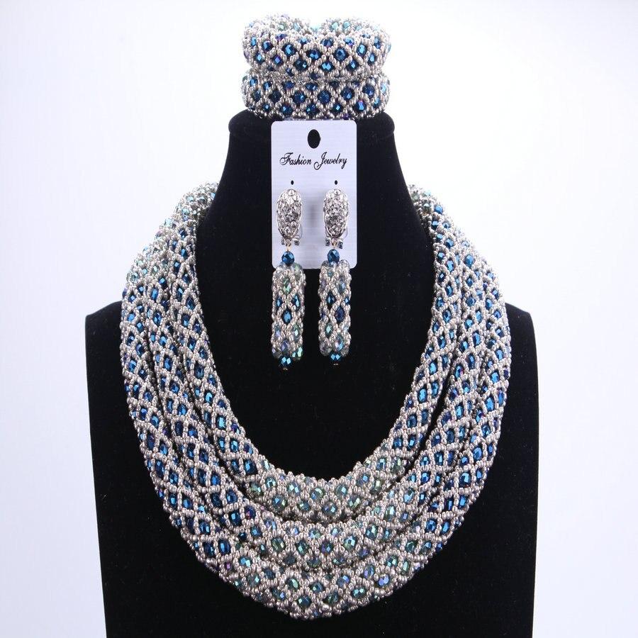 Argent Bleu Dudo Perles Africaines ensembles de bijoux 2017 bijoux de mariée Ensembles et Plus Nigérians Perles De Mariage Africain Collier Pour Les Femmes