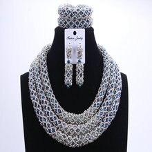 Conjuntos de joyas de cuentas africanas de Dudo azul plata 2017, conjuntos de joyas nupciales y más cuentas de boda nigeriana, collar africano para mujer