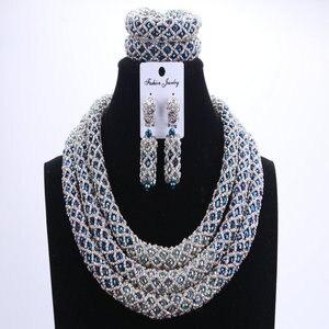 Image 1 - Женский комплект ювелирных изделий Dudo, набор свадебных украшений серебристого и синего цвета с африканскими бусинами, ожерелье в нигерийском стиле, 2017