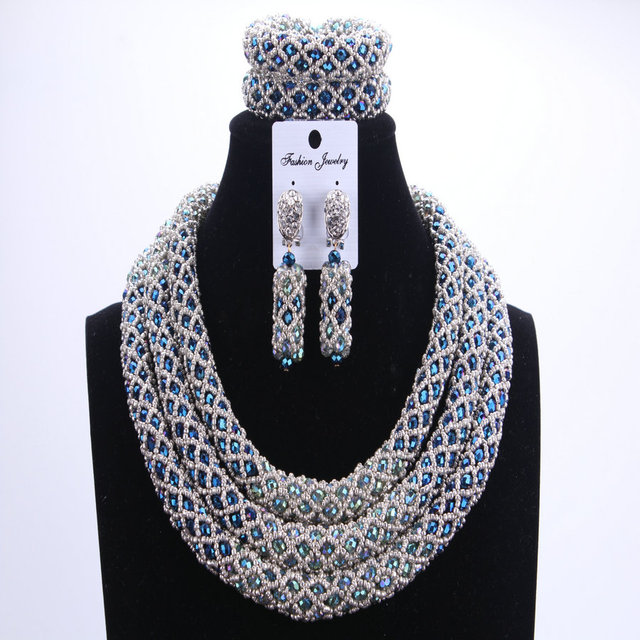 Женский комплект ювелирных изделий Dudo, набор свадебных украшений серебристого и синего цвета с африканскими бусинами, ожерелье в нигерийском стиле, 2017