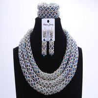 Fashion Silver Blue African Beads Wedding Jewelry Sets Nigerian Beaded Necklace Anniversary Jewelry Full Sets Free