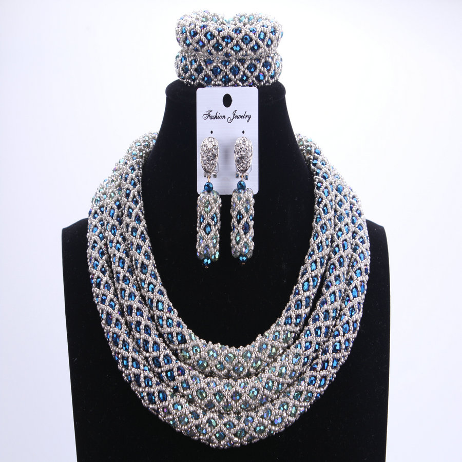 Silver Blue Dudo African Beads Jewelry Sets 2017 Bridal Jewelry Sets & More Nigerian Wedding Beads African Necklace For Women