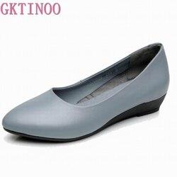 GKTINOO-zapatos de tacón bajo de piel auténtica para mujer, zapatillas clásicas con cuña en blanco y negro, para oficina