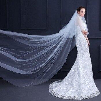8b05b18bb0 2019 Catedral velo boda velo de 3 metros de largo suave velos de novia con  peine