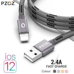 Câble usb PZOZ pour câble iphone Xs max Xr X 8 7 6plus 6 s 5 s plus ipad mini câbles de charge rapide données du cordon de chargeur de téléphone portable