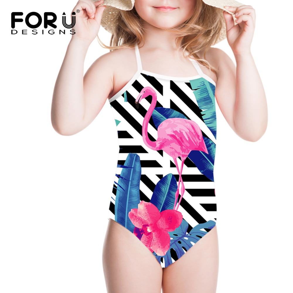 FORUDESIGNS 2018 Girls Bikinis Swimsuit Children One Piece Swimming for Kids Cute Flamingo Bathing Suit Baby Swimwear Beachwear forudesigns one piece swimsuit for girls children swimwear friuts strawberry printing bathing suit baby bikinis kids swim suits