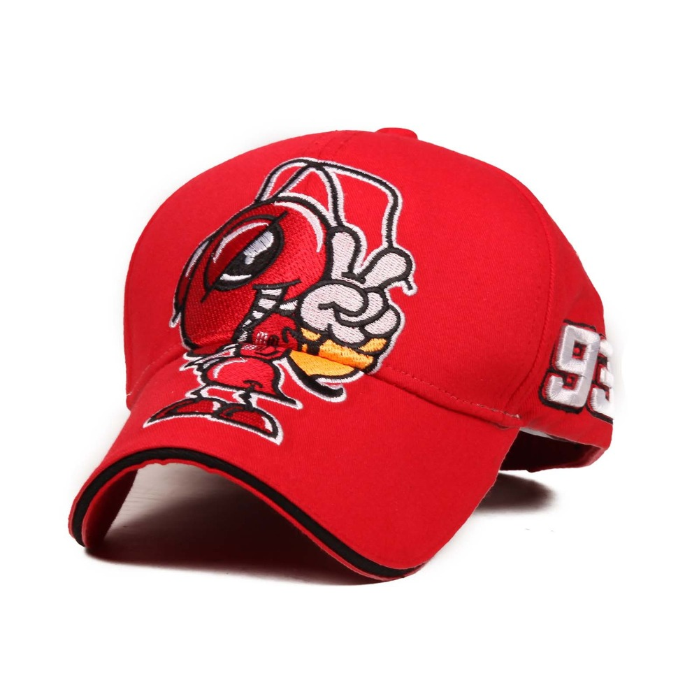 2018 Hot Sale Cosplay Cartoon Big Ant Embroidery Moto GP Marc Marquez Racing   Baseball     Cap   Hat Men Women Sports Snapback Hats
