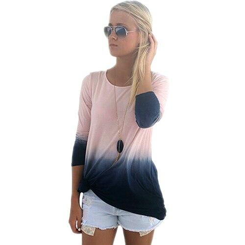 2016 font b Women s b font Fashion Round Neck Long Sleeve Gradient Color Top font