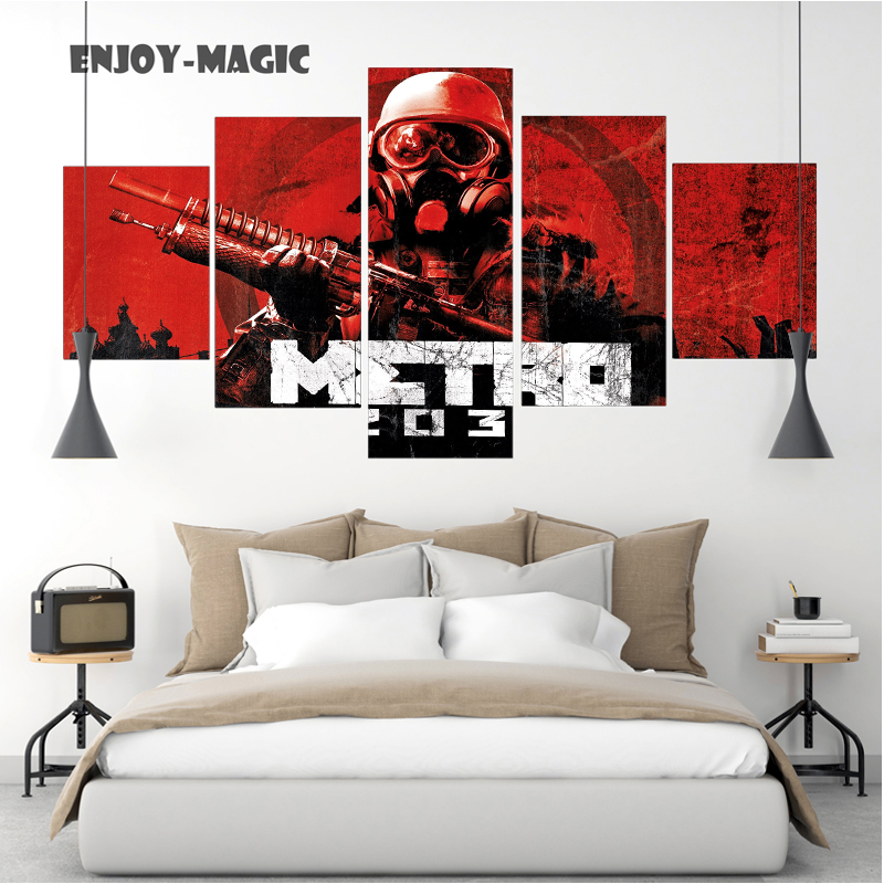 Home Decor Canvas Poster Game Metro 2033 Home Decoration Wall Art Modern 5 Piece Hd Oil Painting