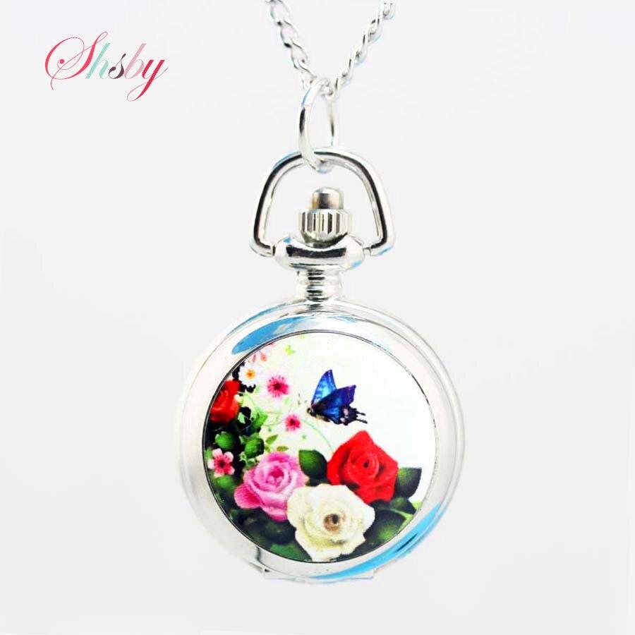 shsby taskukellad lillemudel hõbedane Keti tüdruk kaelakee - Pocket kellad