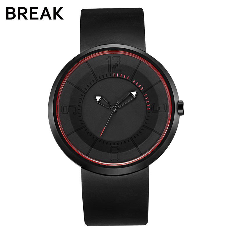 Break Men's Women Top Luxury Brand Fashion Sports Analog Quartz Wristwatch Creative Unique Silicone Band Watches Gift for Men break men top luxury brand stainless steel band fashion casual calendar quartz sports wristwatches creative gift dress watches