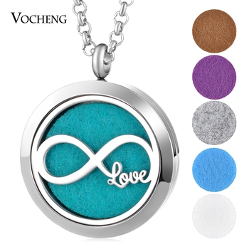 10pcs/lot Essential Oil Diffuser Locket Necklace Love 316L Stainless Steel Aorma Pendant Magnetic 30mm with Felt Pad VA-801*10