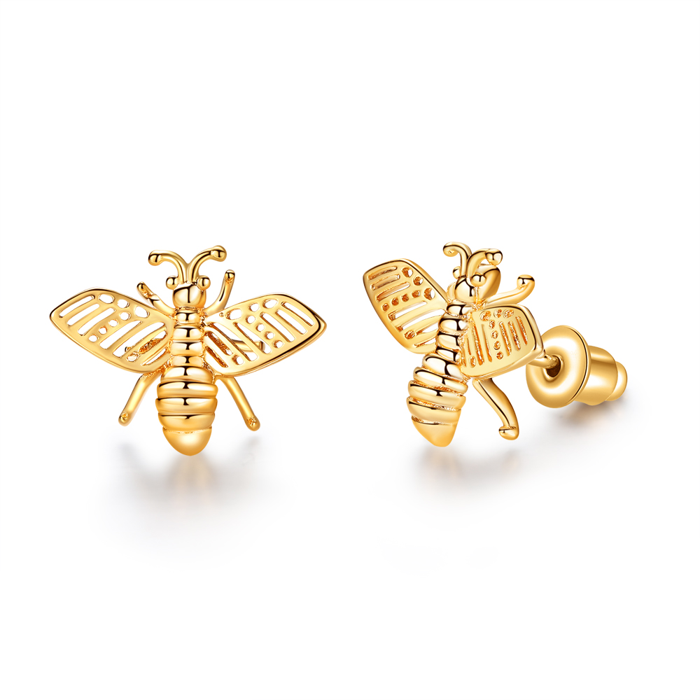 2019 Fashion Cute Tiny Bee Earring Gold Color Honey Bee Earrings Stud Unique Earrings Jewelry For Women Best Gift