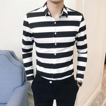 e15b7540fa1e6 2019 Yeni Bahar Çizgili Gömlek Erkekler Uzun Kollu Rahat Slim Fit Gömlek  Erkek Marka Giyim Yüksek Kalite Camisa Masculina