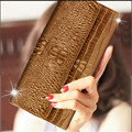 Women Purse Wallet Female 3D Embossing Split Leather Wallets Long Clutch Lady Wallet Hold Purse