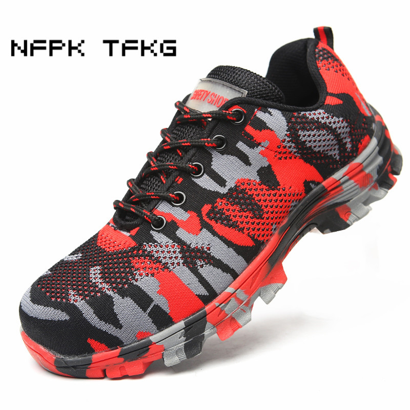 large size mens fashion breathable mesh steel toe covers work safety tooling shoes camouflage puncture proof security low boots цены онлайн