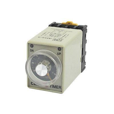 AC 110V 0-6 Second 8P Screw Resistive Load Delay Timer Time Relay w Base h3y 4 ac 220v delay timer time relay 0 5 sec with base