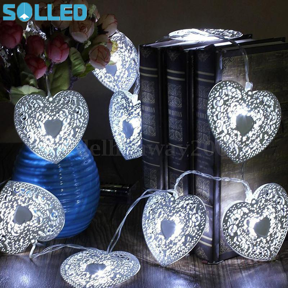 SOLLED Novelty String Fairy Light Metal Hollow Heart Shaped LED Light for Xmas Festival Wedding Birthday Party Home Garden Decor