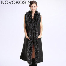 Фотография SC141 Women Shawl Faux Fur Neck Capes Soft Poncho 2017 Winter Oversized Knitted Long Faux Cashmere Sleeveless Cardigan Coat