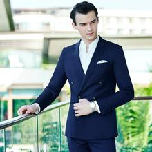 Men's suit handsome blue fashion style wool blended suit double-breasted long sleeve slim fit wedding suit