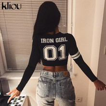 "Kliou 2018 New Long Sleeve T-Shirt O-Neck Letters Number ""01"" Print T-Shirt Women Fashion Pullover Cotton Casual Crop Top(China)"