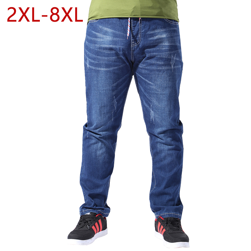 Big Size Men Jeans Straight High Stretch Spring Autumn Blue Casual Long Male Denim Pants Baggy 2XL-8XL Mens Drawstring Trousers