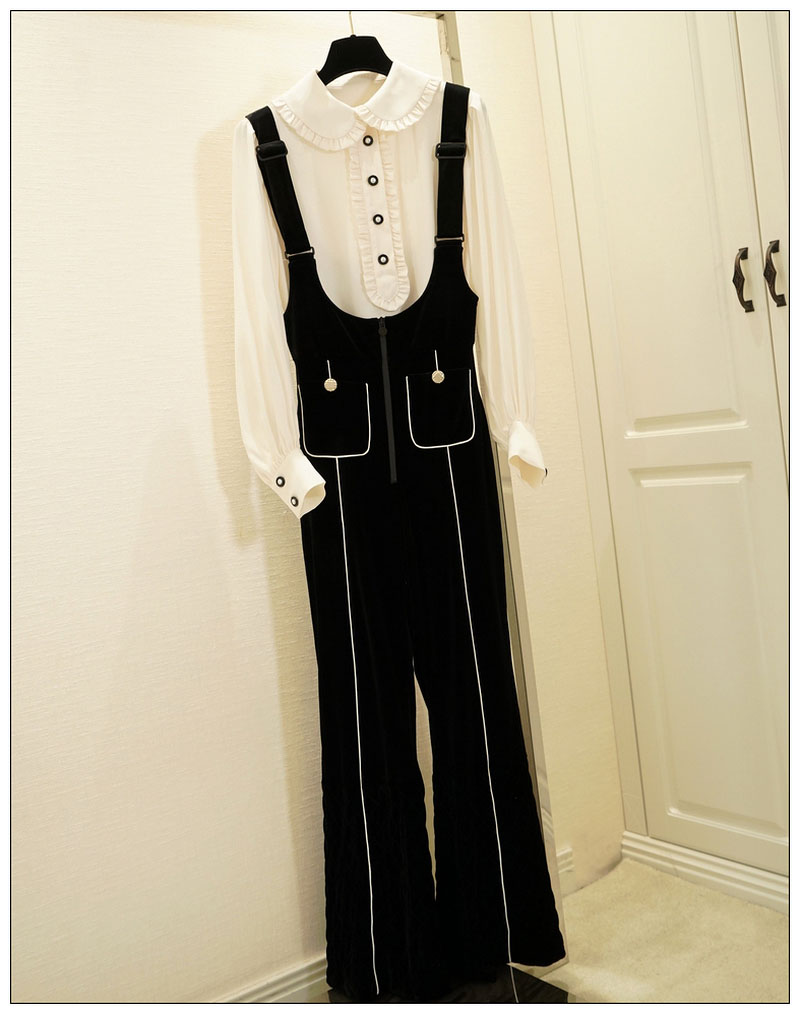 Grandes Noir De Or Pantalon Couture Blanc Avant Luxe Évasée Zipper Ourlet Sangles Ajustables Velours Salopette Blouse Boutonné Poches Matelassé Longue rTzrq0