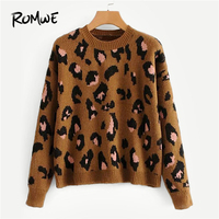 ROMWE Brown Drop Shoulder Leopard Print Sweater Women Casual Autumn Clothes Sweaters Fashion 2019 Womens Clothing Pullovers