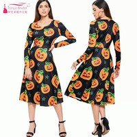 Hot Sale Halloween fashion Coctail Dresses Pumpkin Print Party Dress With long sleeve Cheap DQG529